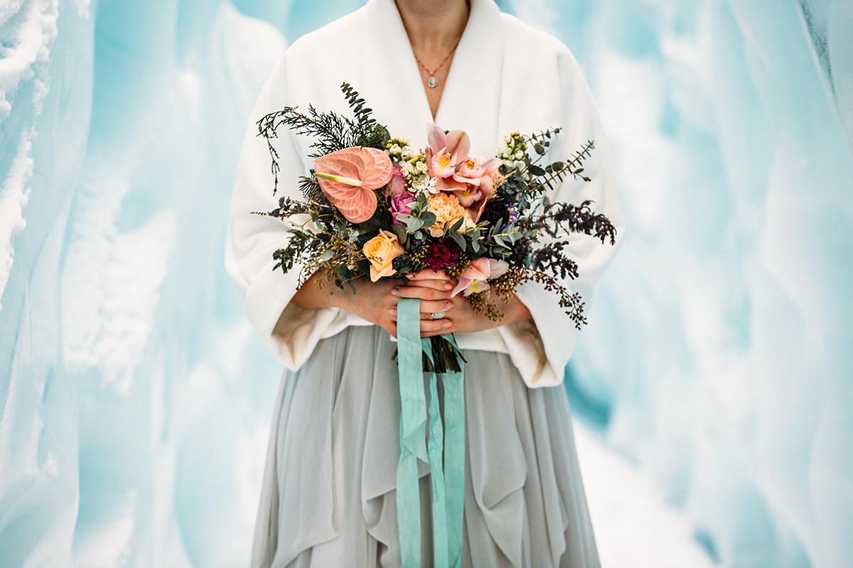 Glacier styled shoot bouquet. Photo: Anne Marie Moran