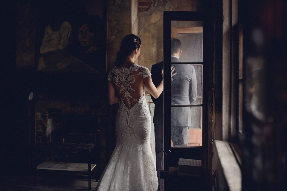 A bride and groom's first look at Race + Religious. Photo: Dark Roux