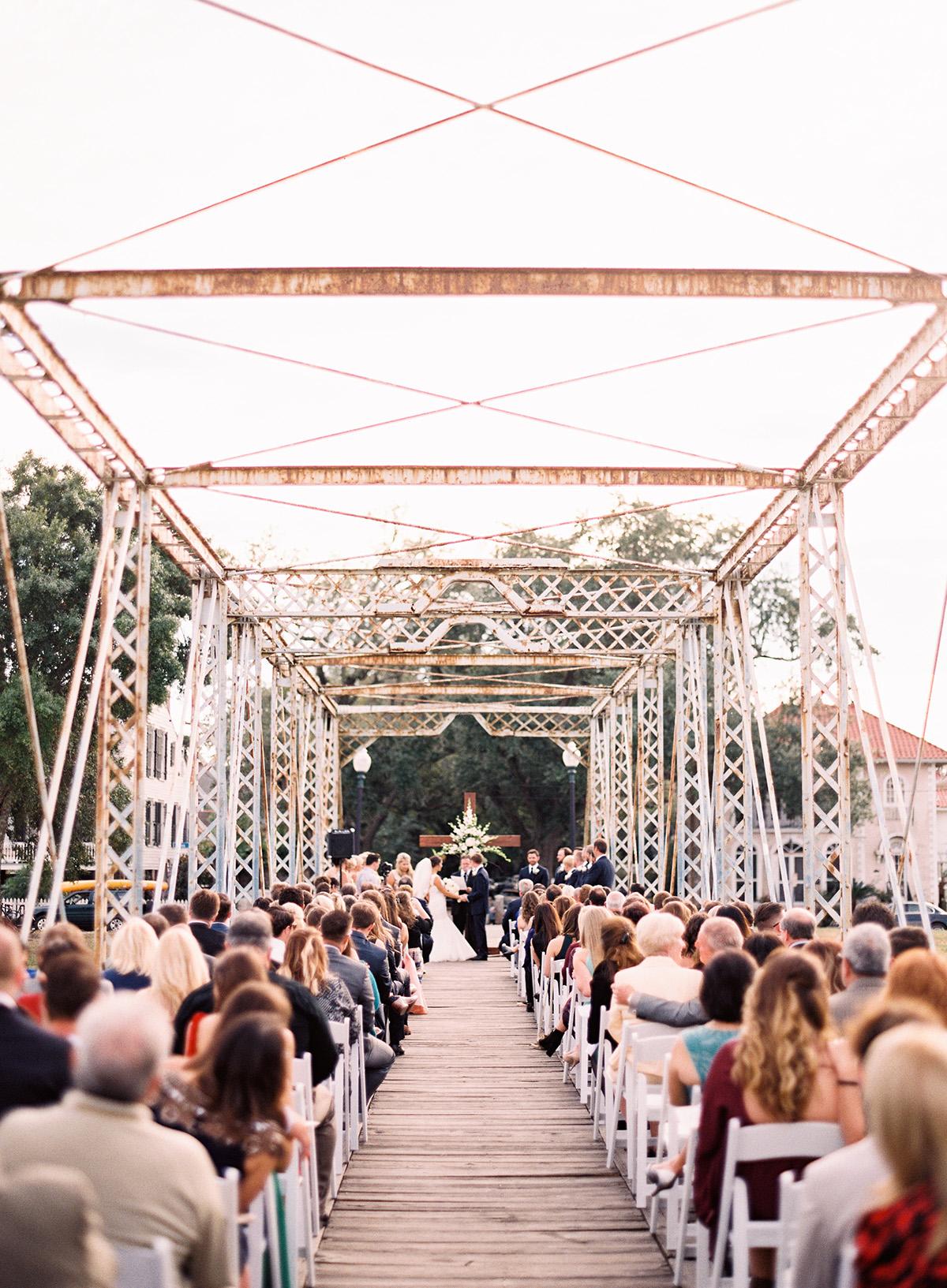 A wedding ceremony on the Bayou St. John bridge in New Orleans. Photo: Mon Soleil