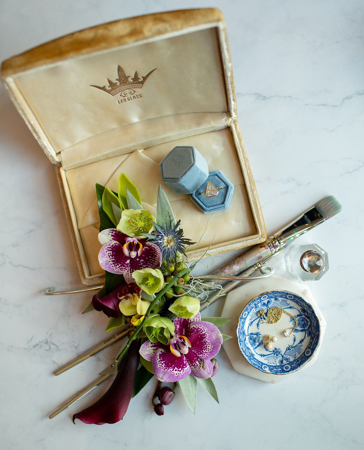 Floral and jewelry details for a styled wedding shoot for New Orleans Weddings Magazine. Photo: Sarah Alleman Photography