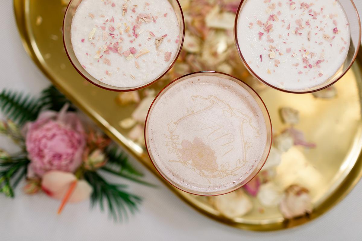 Eco-friendly vegan cocktails with edible monogram. Photo: Sarah Alleman Photography