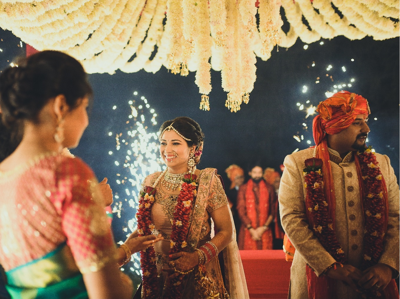 An Indian wedding ceremony with fireworks. Photo: The Wedding Matinee