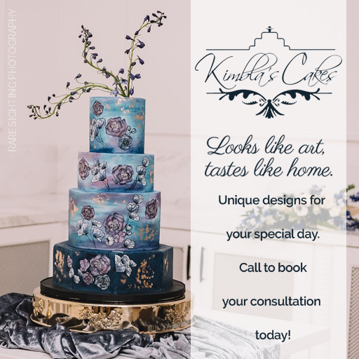 Kimbla's Cakes look like art and taste like home. Contact Kimbla's to book a consultation for your wedding cake. Photo: Rare Sighting Photography