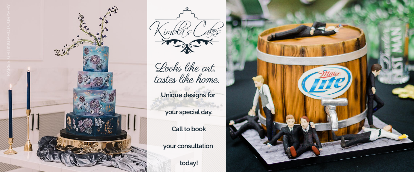 Kimbla's Cakes look like art and taste like home. Contact Kimbla's to book a consultation for your wedding cake. Blue Cake Photo: Rare Sighting Photography
