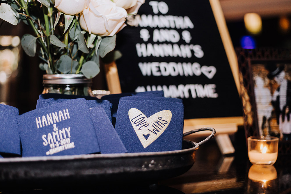 dark blue love wins koozies