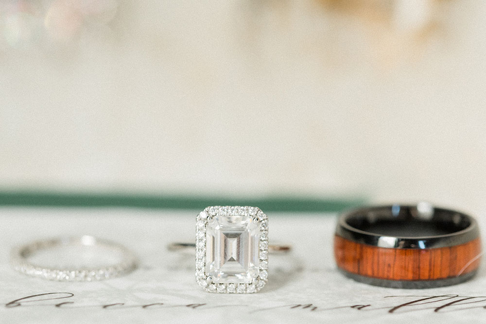 wedding bands and engagement ring