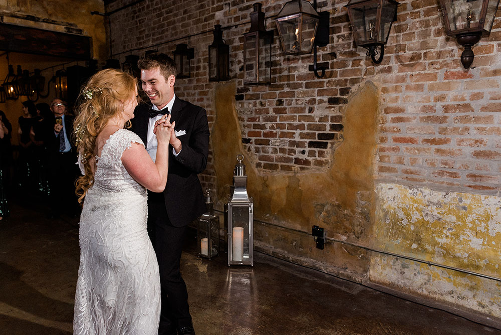 bride and groom dancing at new orleans wedding reception
