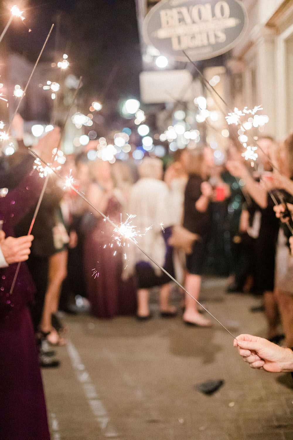 outdoor french quarter wedding sparklers