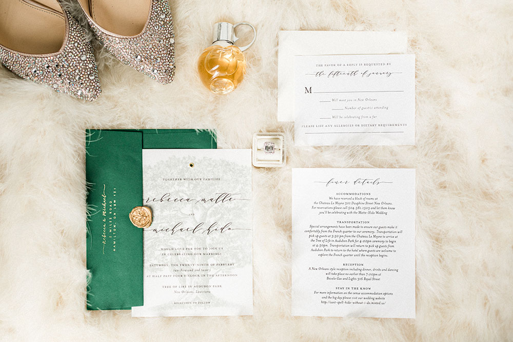 wedding day details: invitation, shooes, perfume, vows