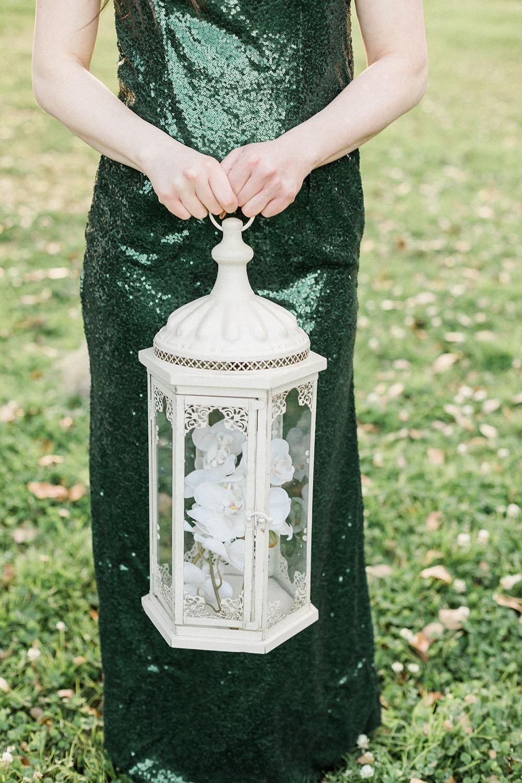 lantern bouquet at outdoor wedding