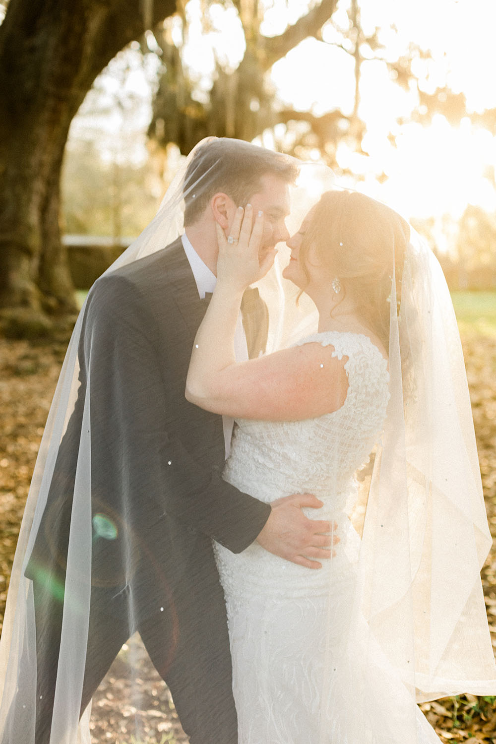 bride and groom romantic embrace