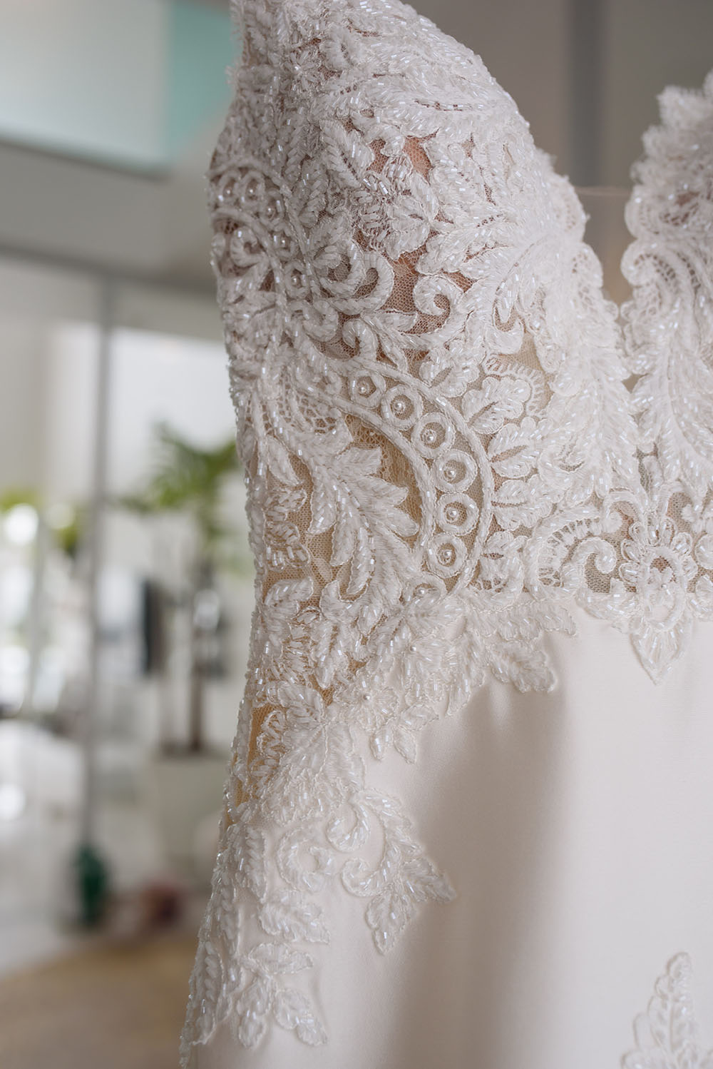 artistic shot of wedding dress