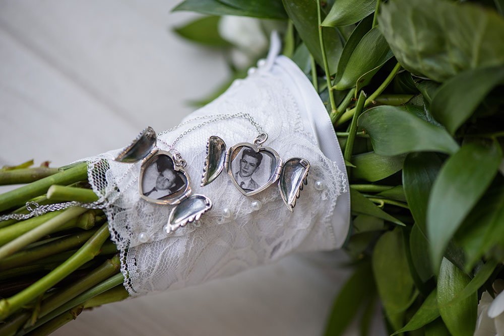 wedding bouquet with locket featuring grandparents