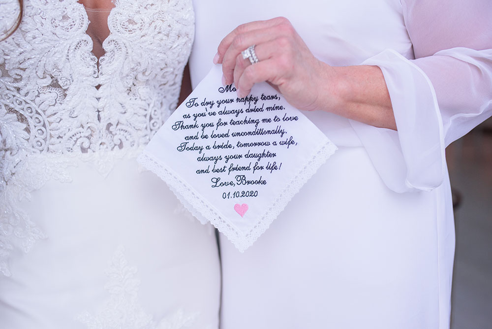 customized handkerchief for mother of the bride