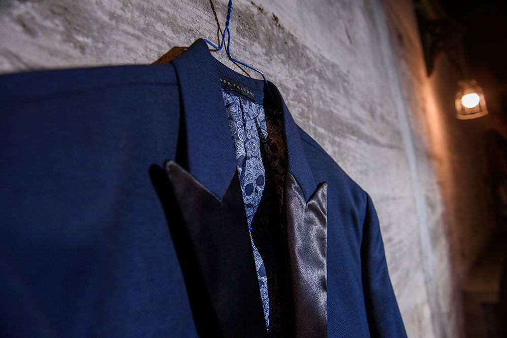 artistic photo of the groom's jacket
