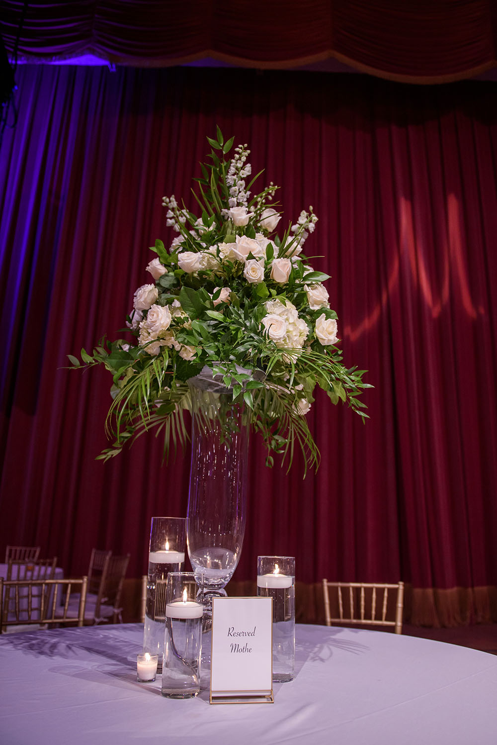floral centeripiece with white roses and floating candles