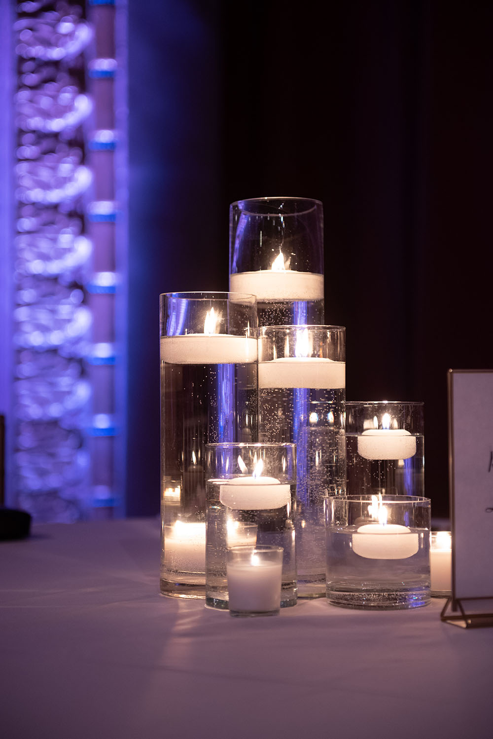 floating candles, wedding reception decor
