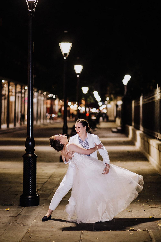 romantic photo of brides at night