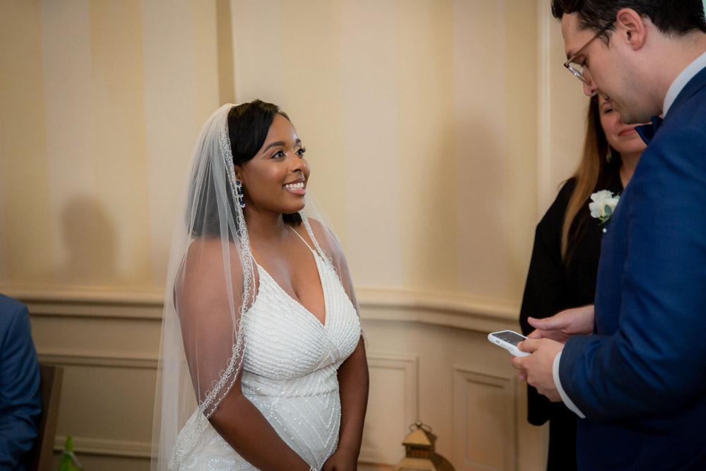 Michael and Kiara exchange vows. Photo: Brian Jarreau Photography
