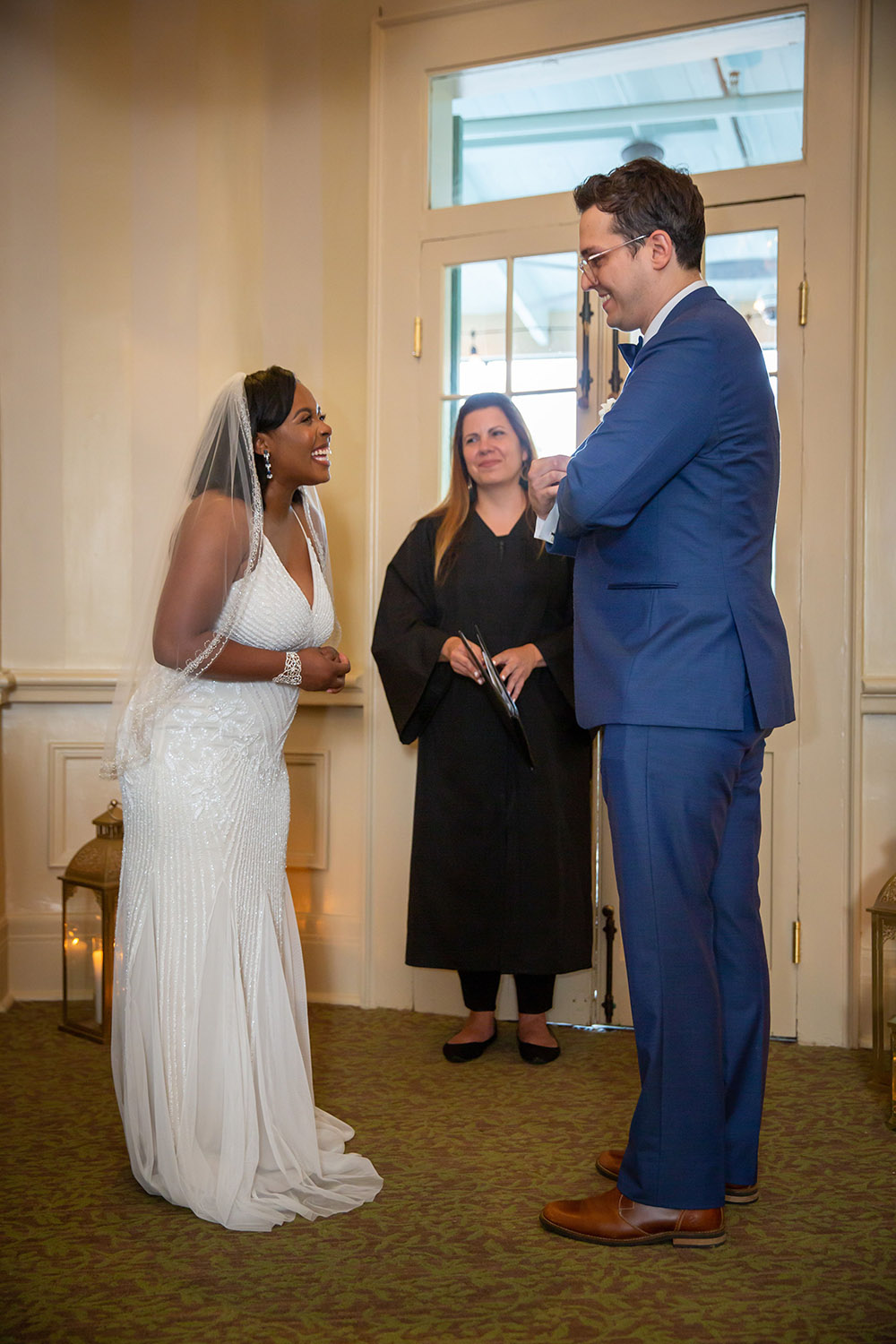 Kiara and Michael exchange vows with Michele Zeller officiating. Photo: Brian Jarreau Photography