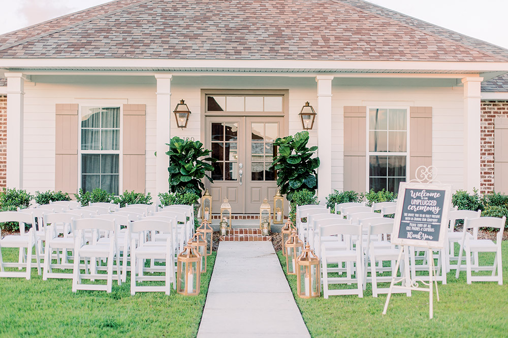 A Wedding Ceremony Set Up On The Front Lawn Of A Private Home. Photo: Ashley Kristen Photography
