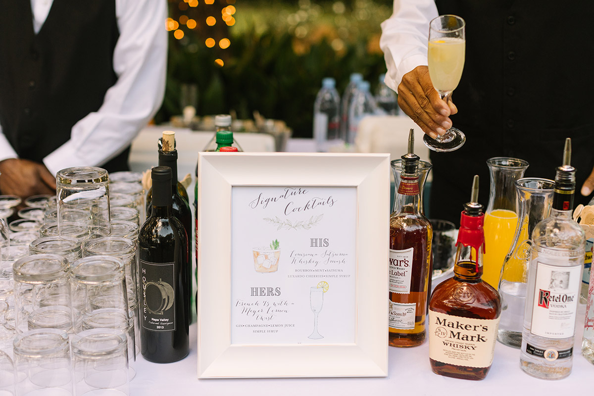Signature Cocktail bar at a wedding reception. Photo: Sarah Alleman