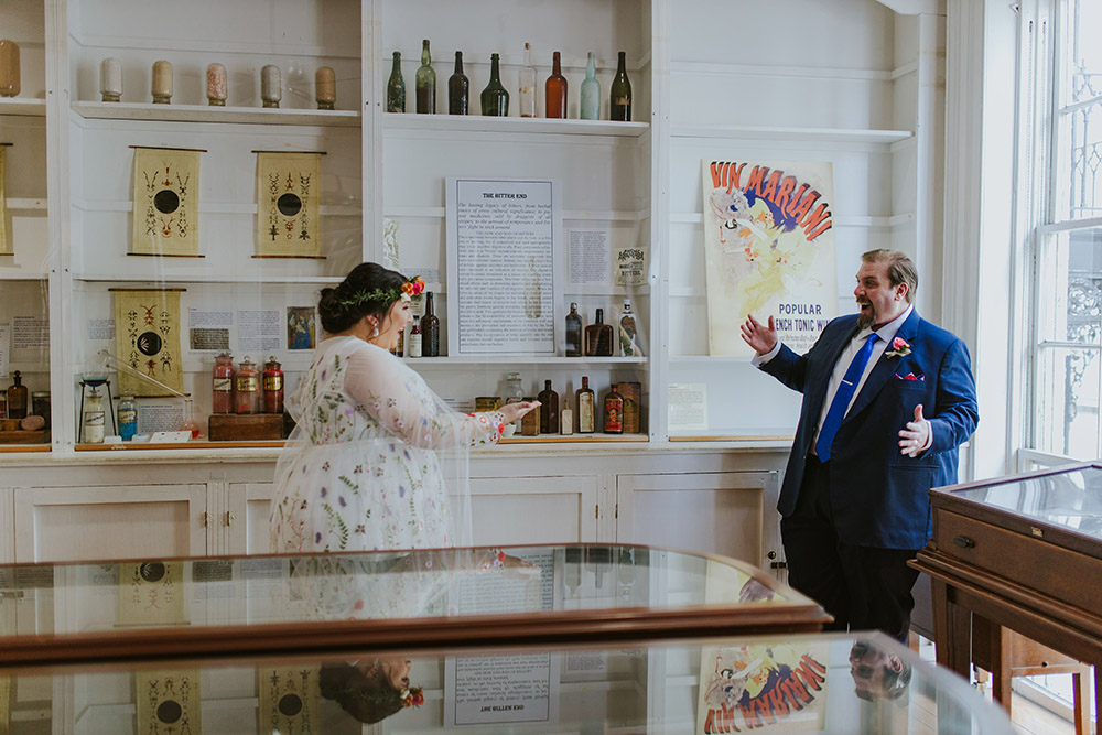 Peter and Del's first look at The Pharmacy Museum. Photo: Ashley Biltz