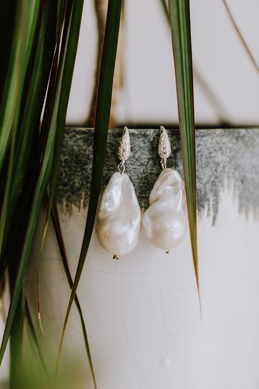 Mother of pearl drop earrings by Leteria. Photo: Ashley Biltz