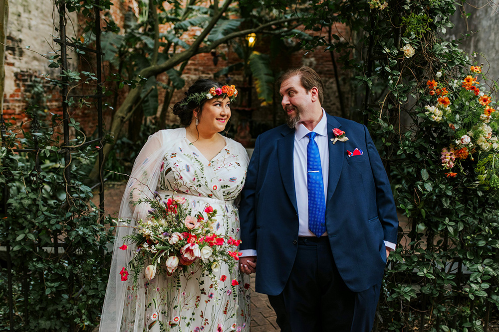 Del And Peter Pose For Portraits On Their Wedding Day At The Pharmacy Museum In New Orleans. Photo: Ashley Biltz