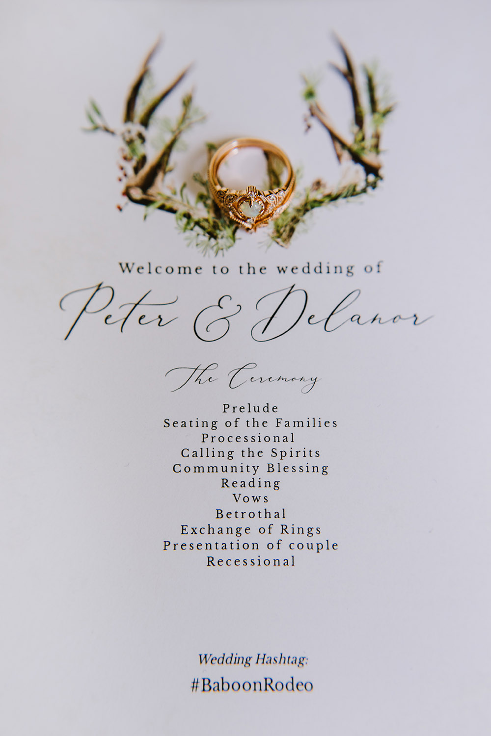 Del and Peter's wedding program with Del's engagement ring. Photo: Ashley Biltz