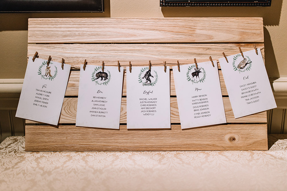 Del and Peter's wildlife-themed seating chart, notably including Bigfoot. Photo: Ashley Biltz