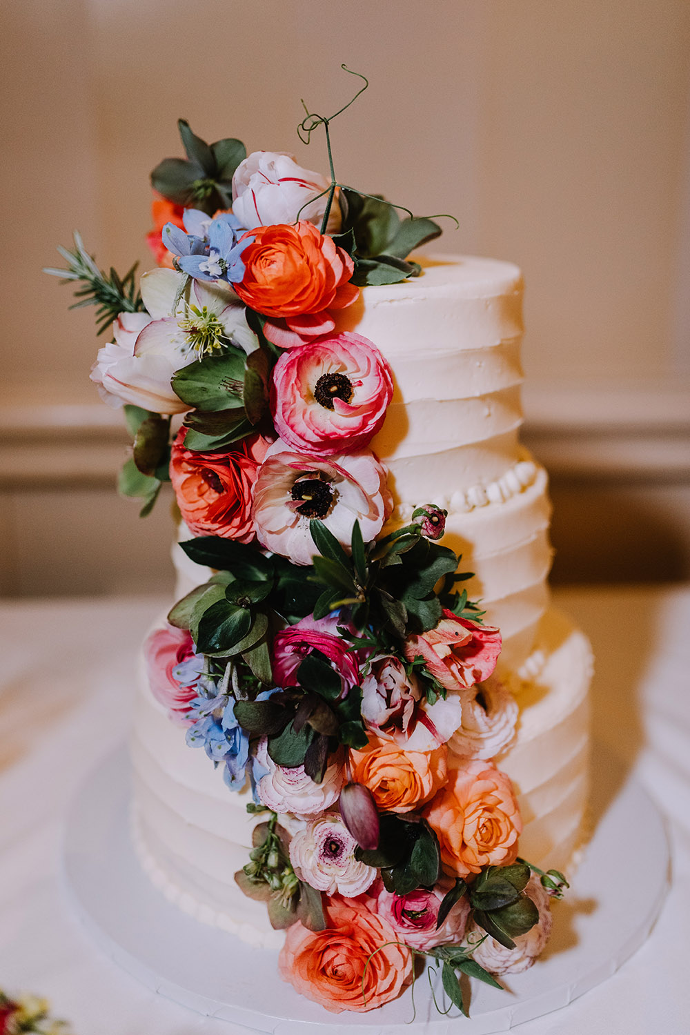Del and Peter's wedding cake from Bywater Bakery. Photo: Ashley Biltz