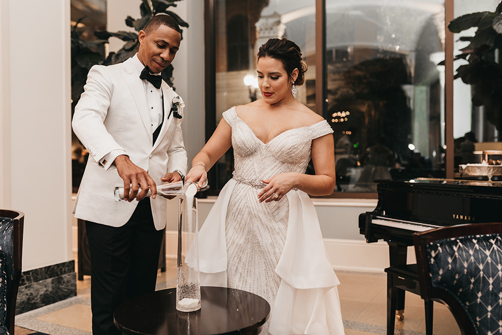 Melanie and Duke incorporated a sand ceremony into their reception and invited their guests to join.