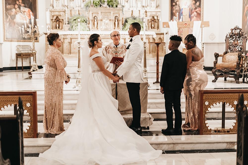 Melanie and Duke say their wedding vows.