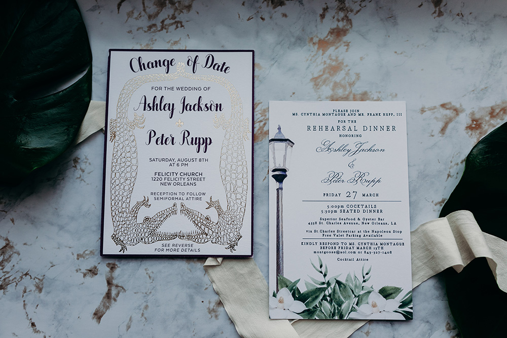 Ashley and Peter's Change the Date invitation.