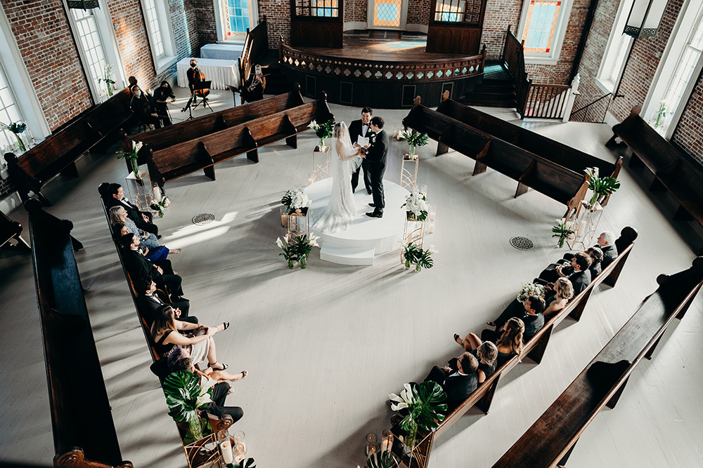 A view of Ashley and Peter's wedding ceremony from Felicity Church's choir loft.