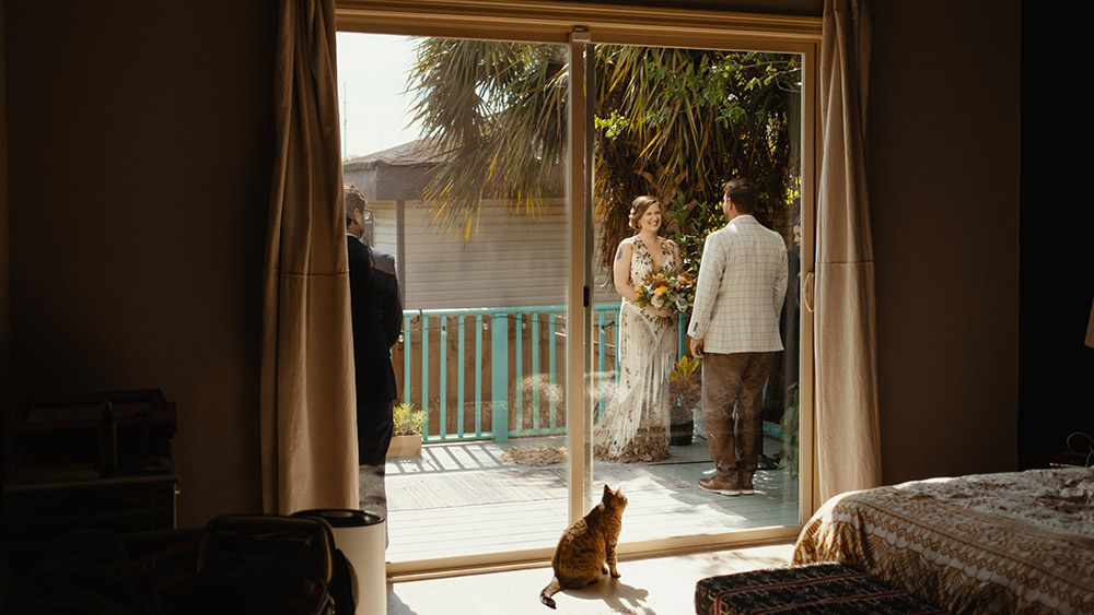 """Caitlin and Donald's cats watch as their """"parents"""" tie the knot."""