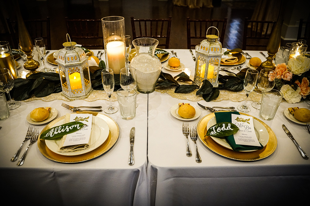 Place settings with menu and leaf place cards
