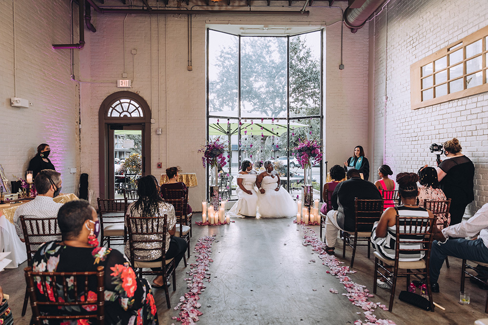 The ceremony and reception took place at Lulu Restaurant Distillery