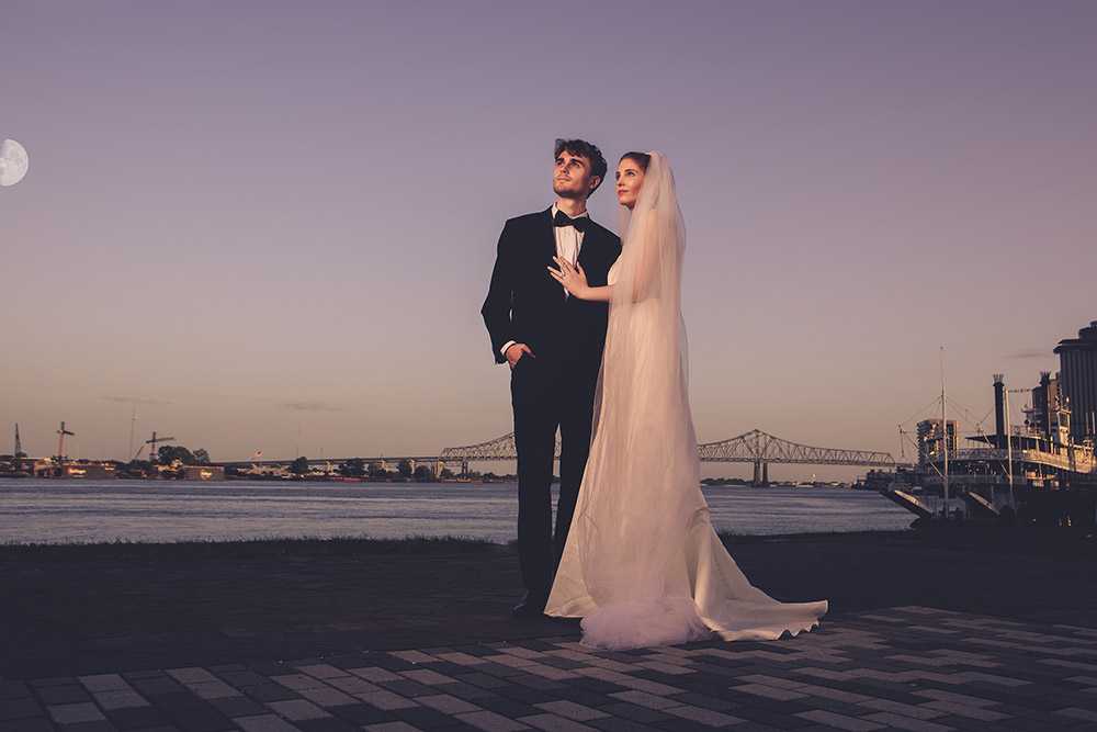 A bride and groom on the Mississippi Riverfront in New Orleans