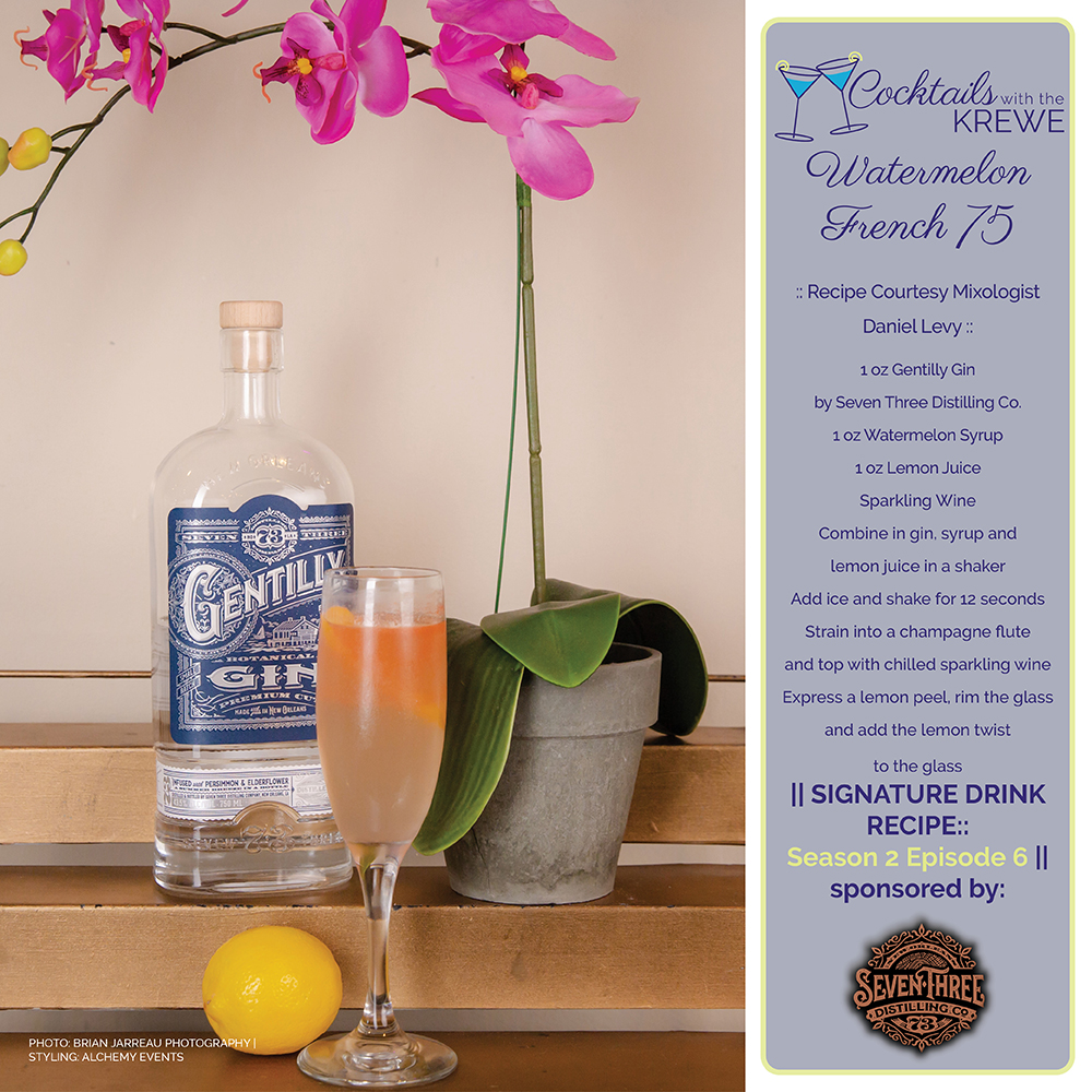 Watermelon French 75 recipe featuring Gentilly Gin