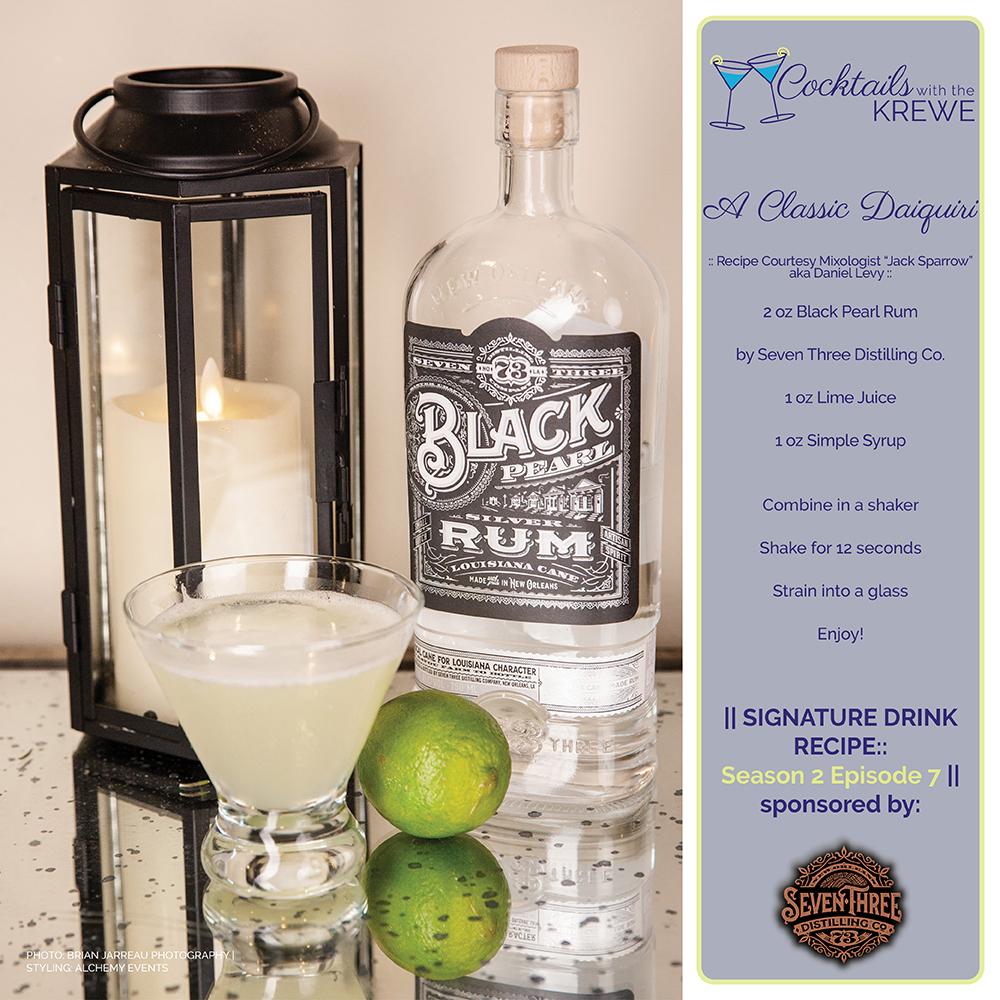 Recipe for A Classic Daiquiri featuring Seven Three Distilling Black Pearl Rum