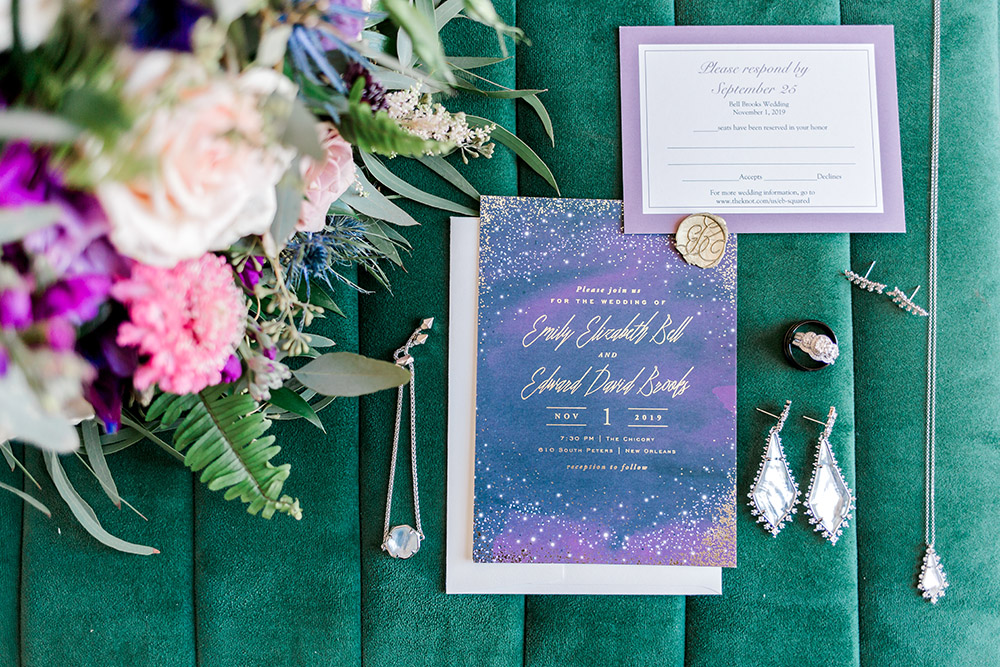 The wedding invitation and details.