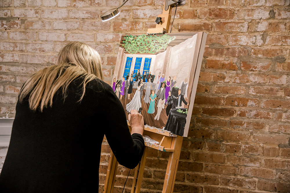 Live Event Painter Kristen Schenk paints Emily and Edward's wedding.