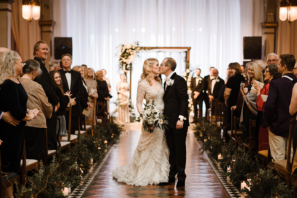 Chelsea And Ross Kiss After The Wedding Ceremony.