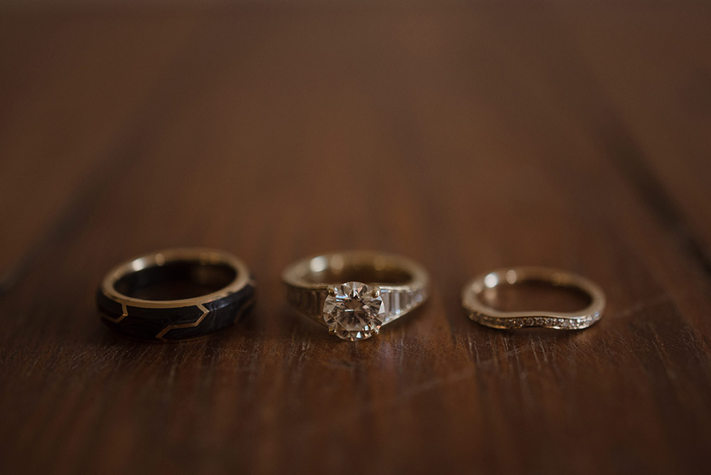 Chelsea and Ross' wedding and engagement rings.