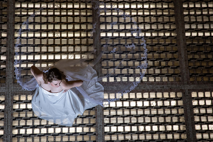 Bridal portrait from above