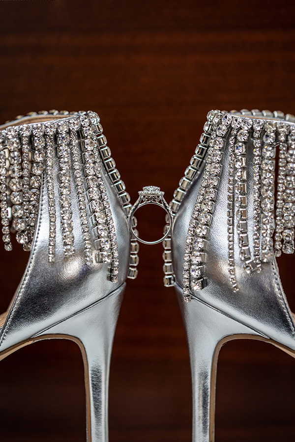 Diamond engagement ring and wedding shoes