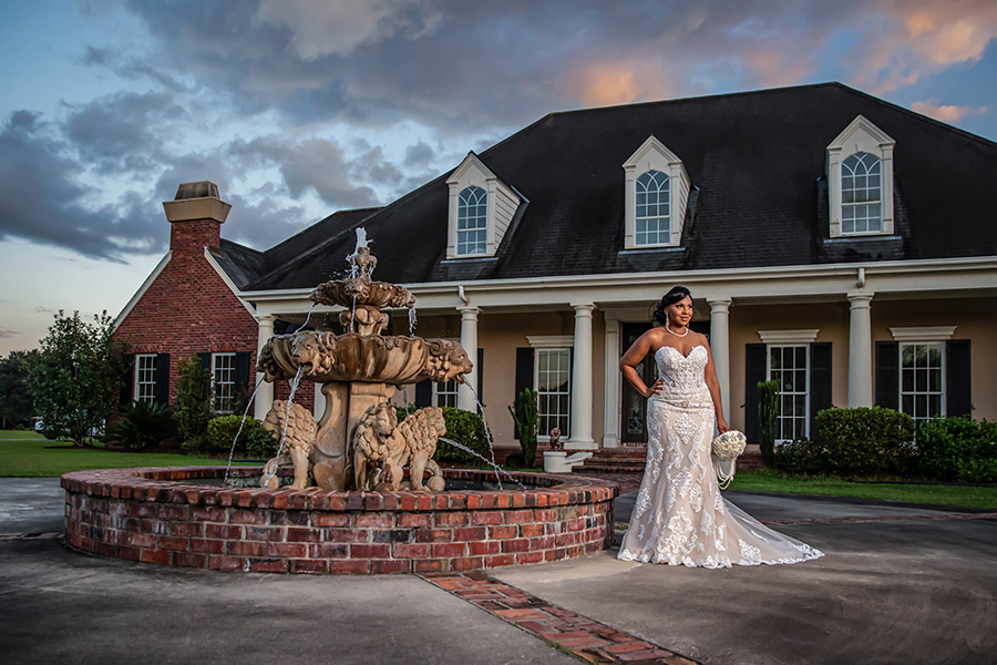 Bridal portrait by a fountain | David Williams Photography