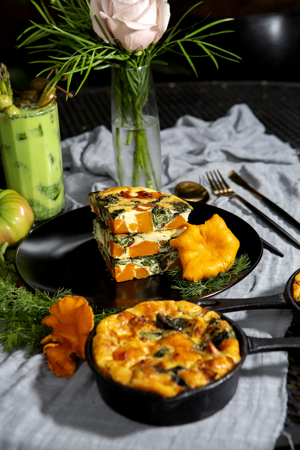 Served in miniature cast iron pans, enjoy a frittata made with sweet potato, spinach and roasted tomatoes. Enjoy with a Green Tomato Bloody Mary.